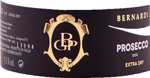 Eticheta Vin spumant Prosecco extra dry DOC 2019 Bernardi