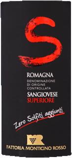 Eticheta vin rosu Romagna Sangiovese superiore zero sulfiti DOC 2014 Fattoria Monticino Rosso