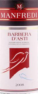 Eticheta Barbera d'Asti DOCG 2008 Manfredi