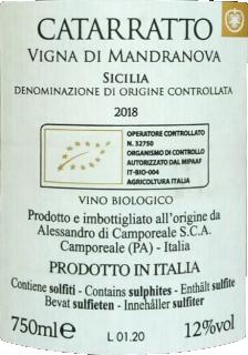 Catarratto vigna Mandranova BIO 2018 Alessandro di Camporeale retroeticheta