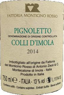 Colli d'Imola Pignoletto DOC 2014 Fattoria Monticino Rosso retroeticheta