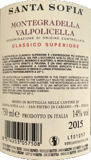 MonteGradella Valpolicella classico superiore DOC 2015 Santa Sofia