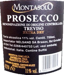 Prosecco extra dry Montasolo DOC 2017 Montelliana retroeticheta
