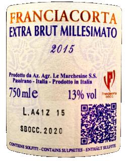 Franciacorta Blanc de Noir Millesimato 2015 Le Marchesine retroeticheta
